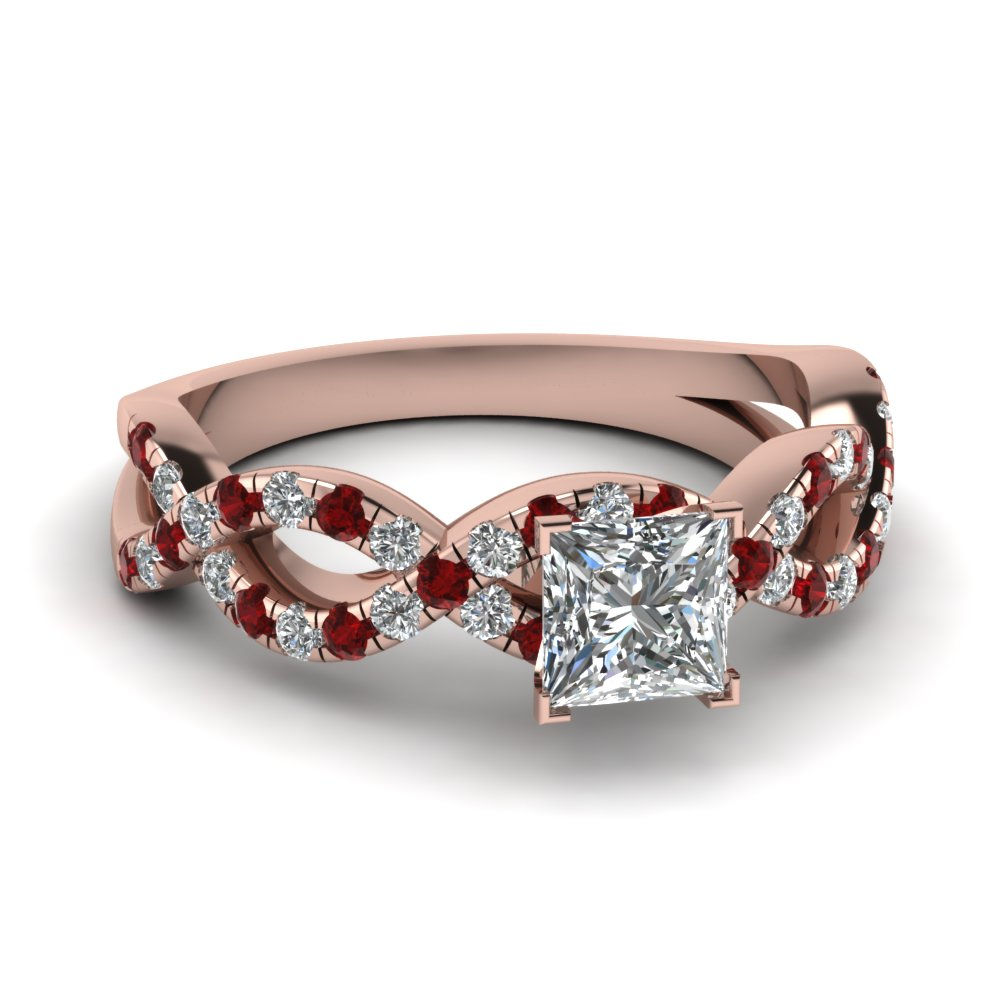 Princess Cut Infinity Diamond Ring With Ruby In 14K Rose Gold