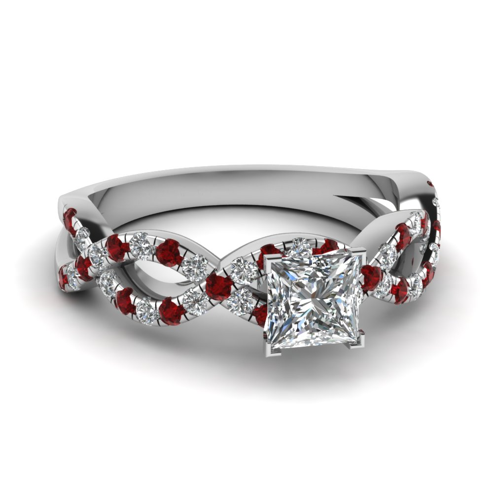 Princess Cut Infinity Ruby Diamond Ring