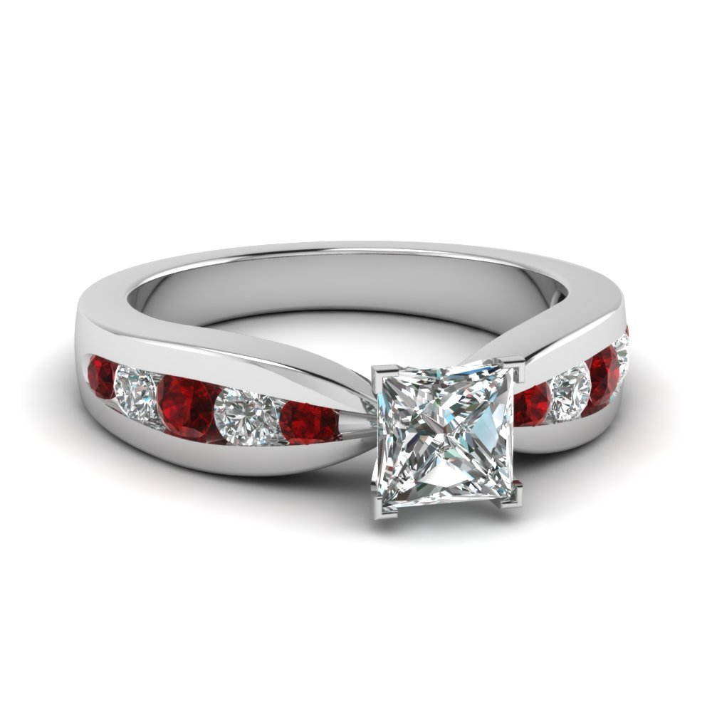 tapered channel set princess cut diamond engagement ring with ruby in FDENR2224PRRGRUDR NL WG