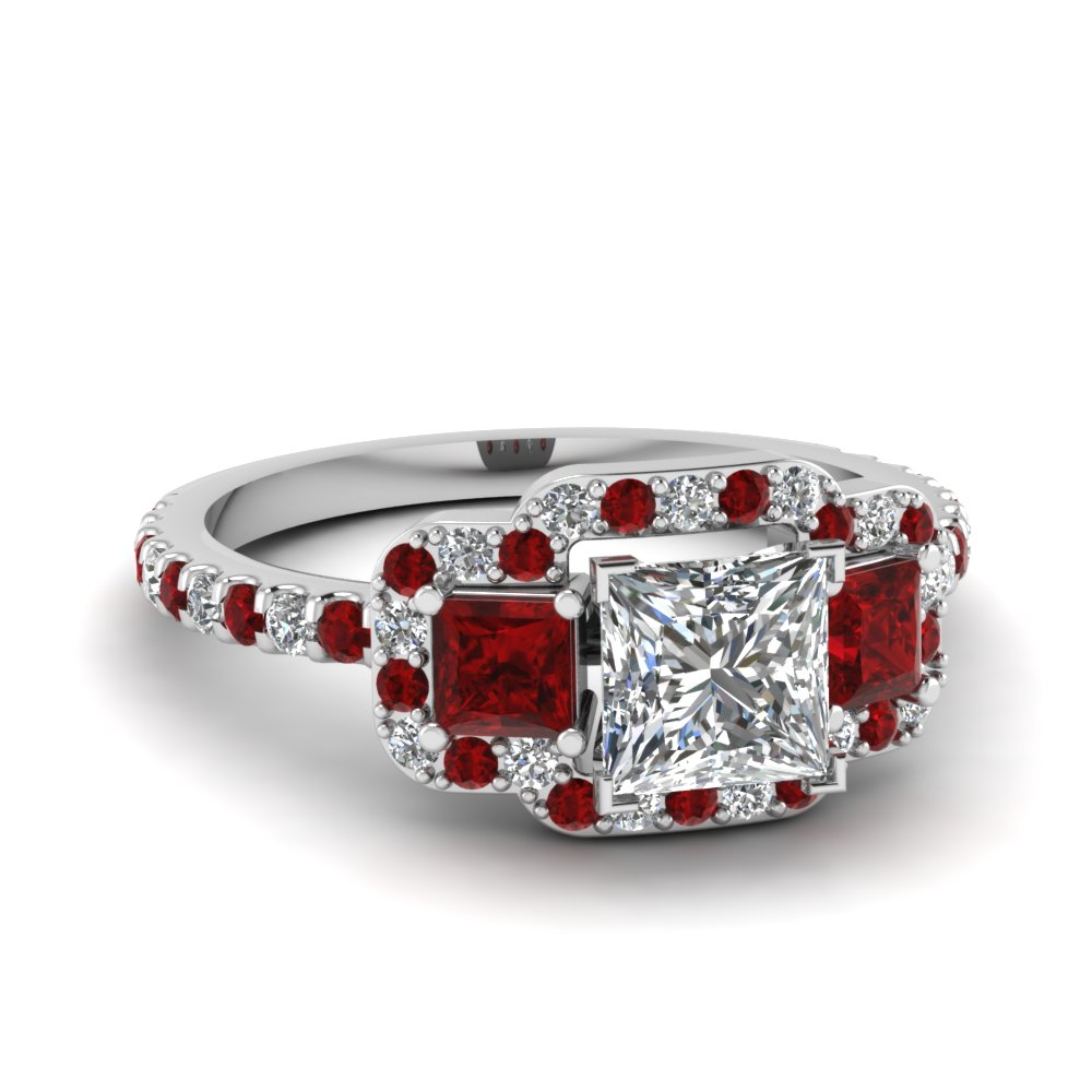 3 Stone Halo Ruby Ring