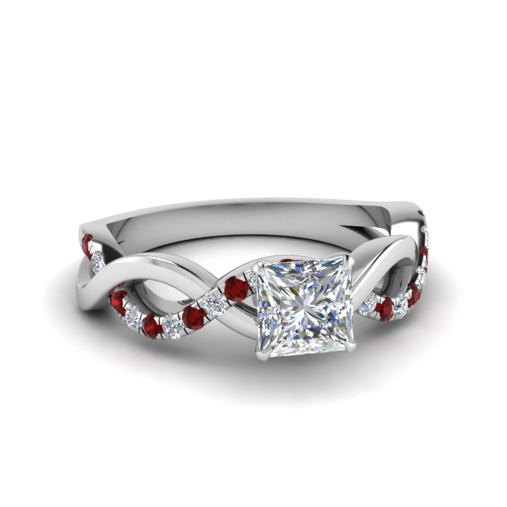 princess cut infinity diamond engagement ring with ruby in FD1122PRRGRUDR NL WG