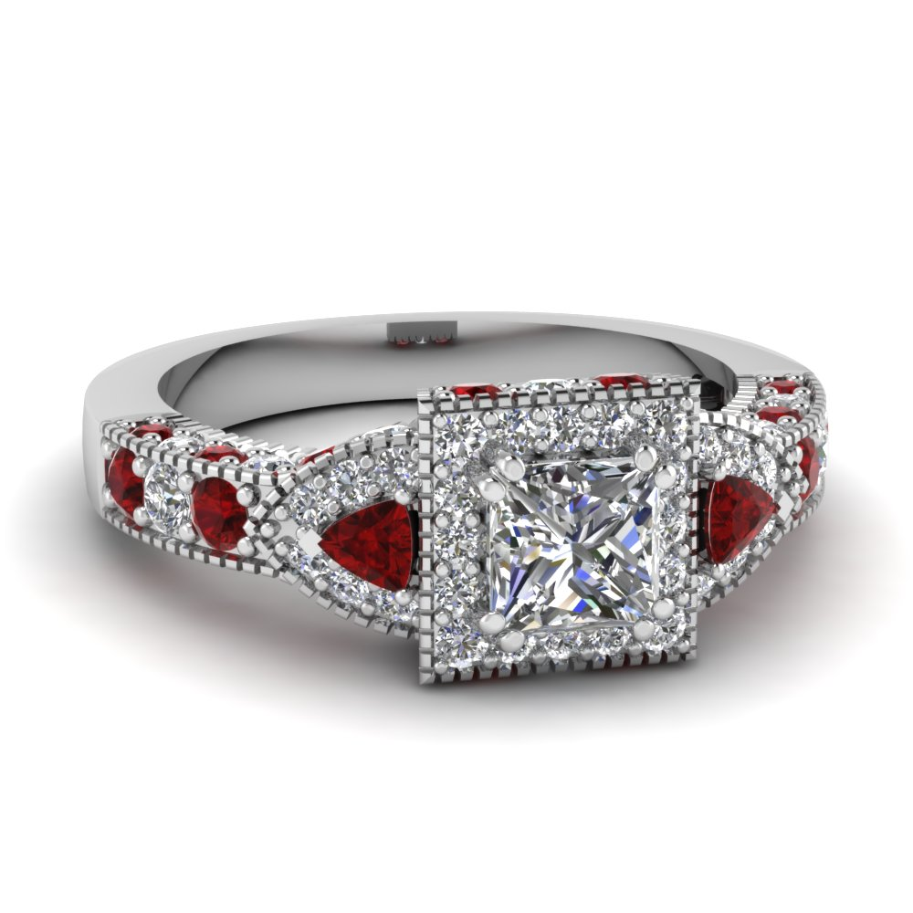 Halo Trillion Diamond Engagement Ring 2 Carat With Ruby In Fdenr7784prrgrudr Nl Wg