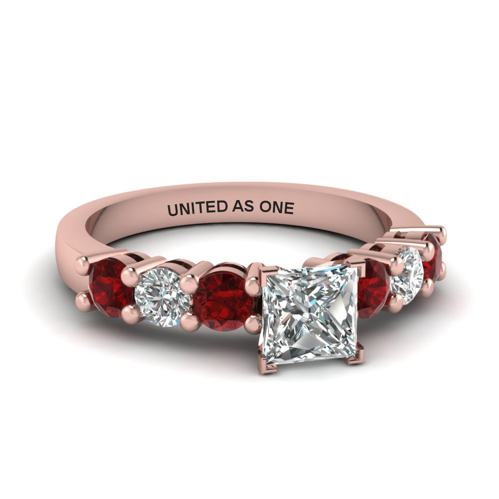 princess cut diamond engraved basket prong 7 stone engagement ring with red ruby in 14K rose gold FDENS141PRRGRUDR NL RG EG