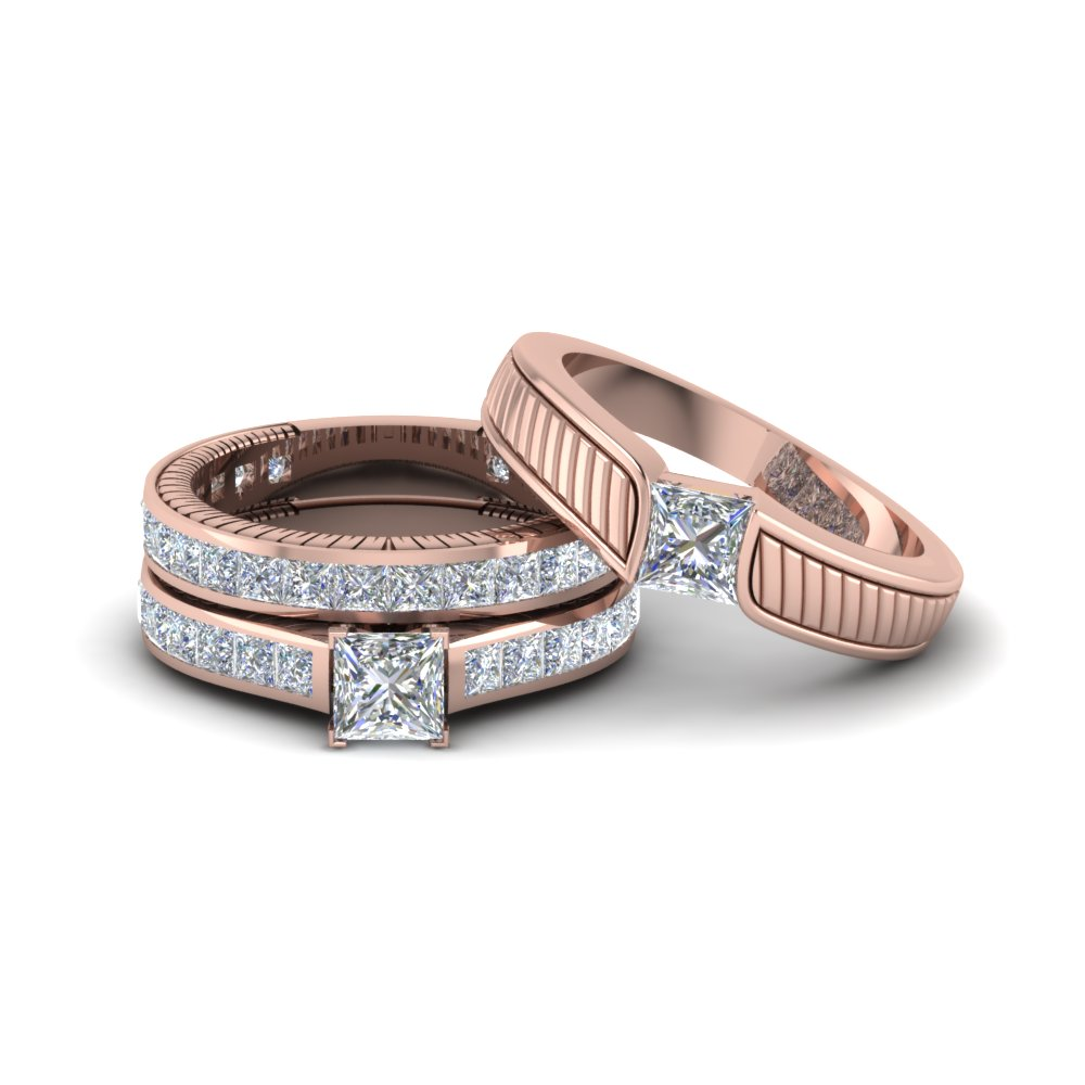 Get Our 14k Rose Gold Trio Wedding Ring Sets