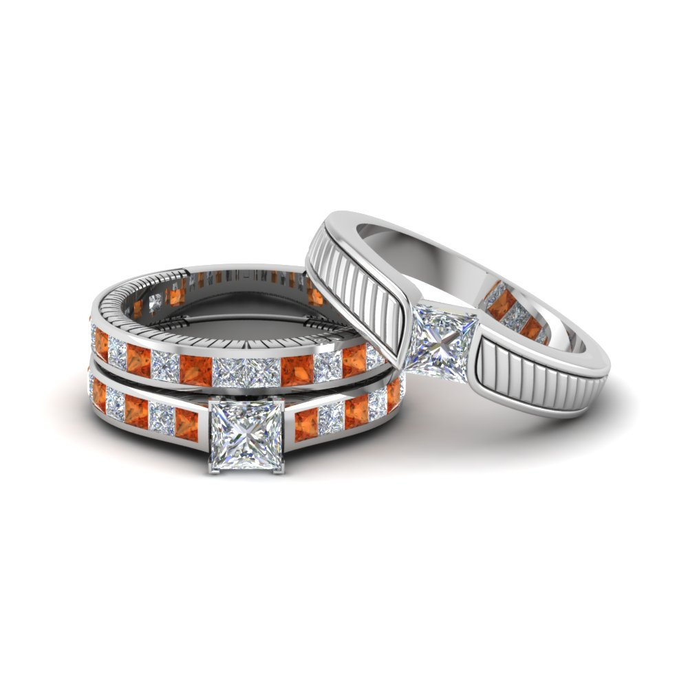 Engraved Trio Wedding Ring Set