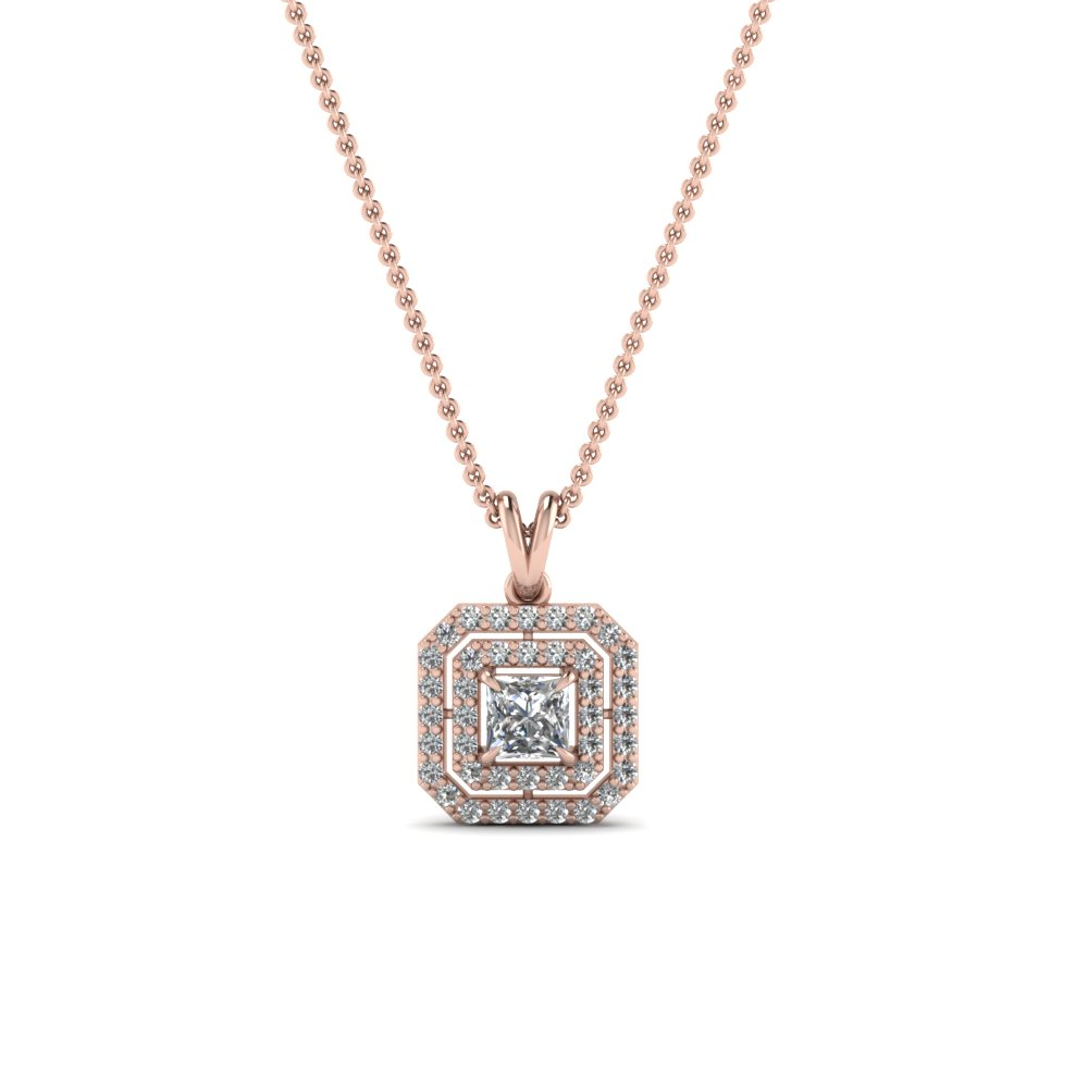 white diamond princess cut pendant gold esta