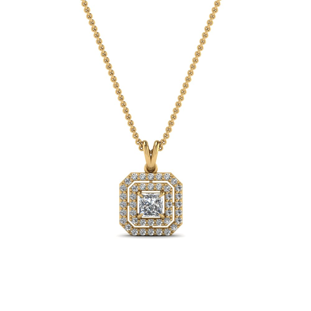 Double Halo Square Diamond Pendant