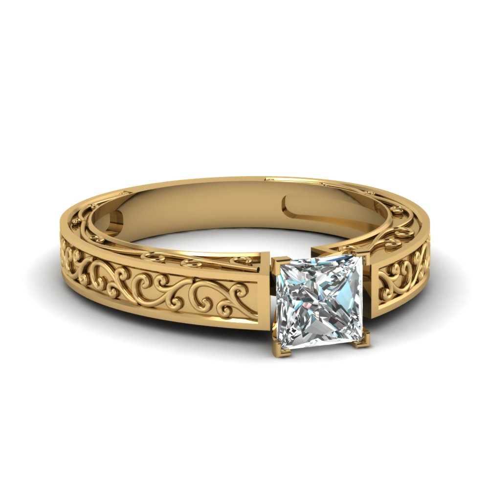 filigree engraved princess cut solitaire engagement ring in FDENS3569PRR NL YG
