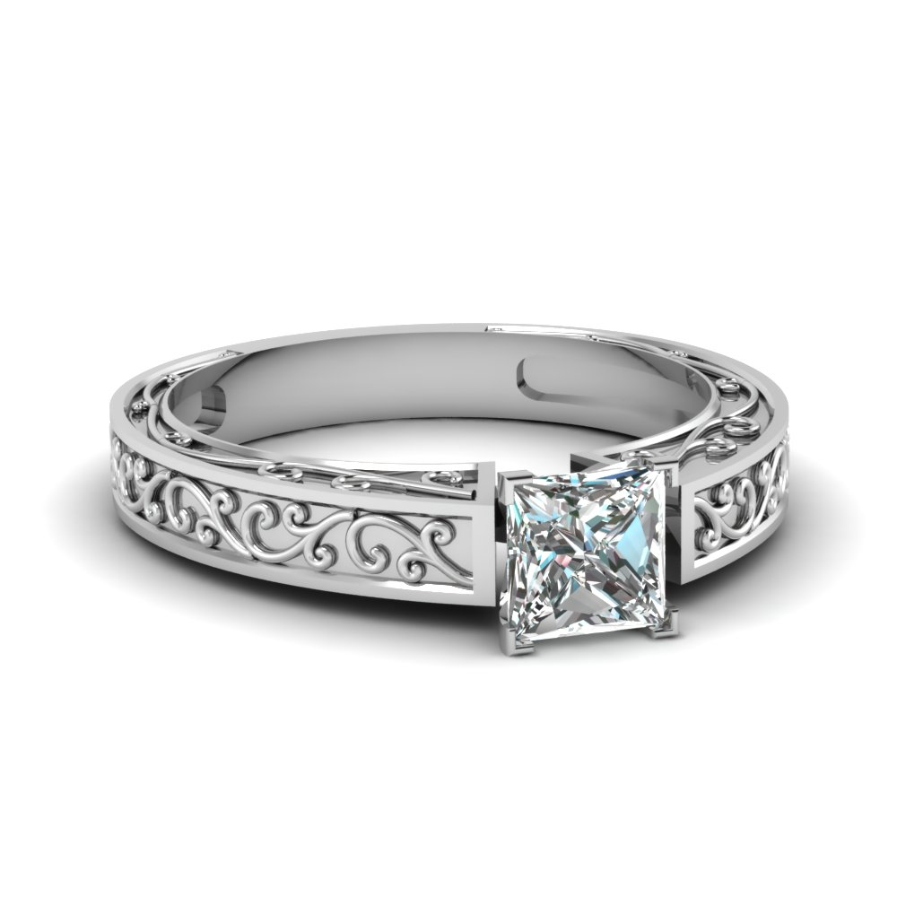 filigree engraved princess cut solitaire engagement ring in FDENS3569PRR NL WG