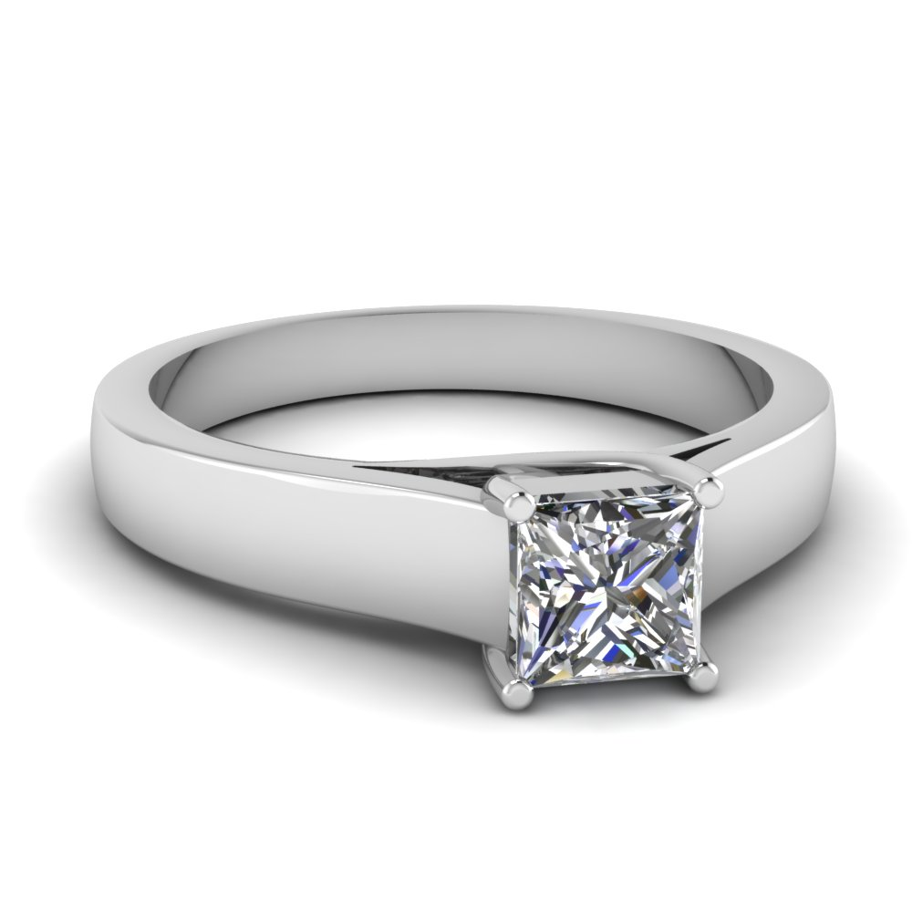 princess cut diamond finesse solitaire ring in 14K white gold FDENR431PRR NL WG