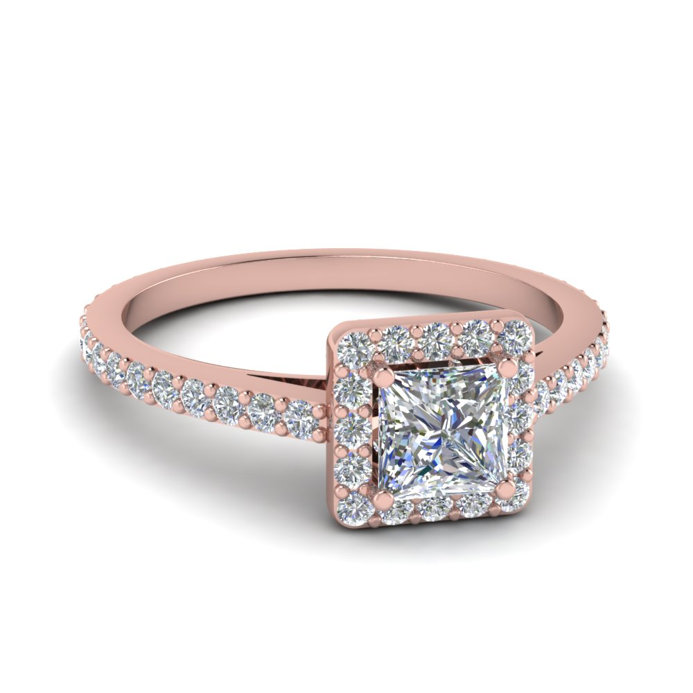 Rose Gold Princess Cut Halo Rings