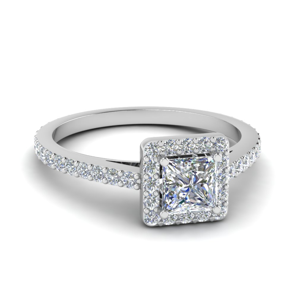 Princess Cut Diamond Floating Square Halo Ring In 14K White Gold