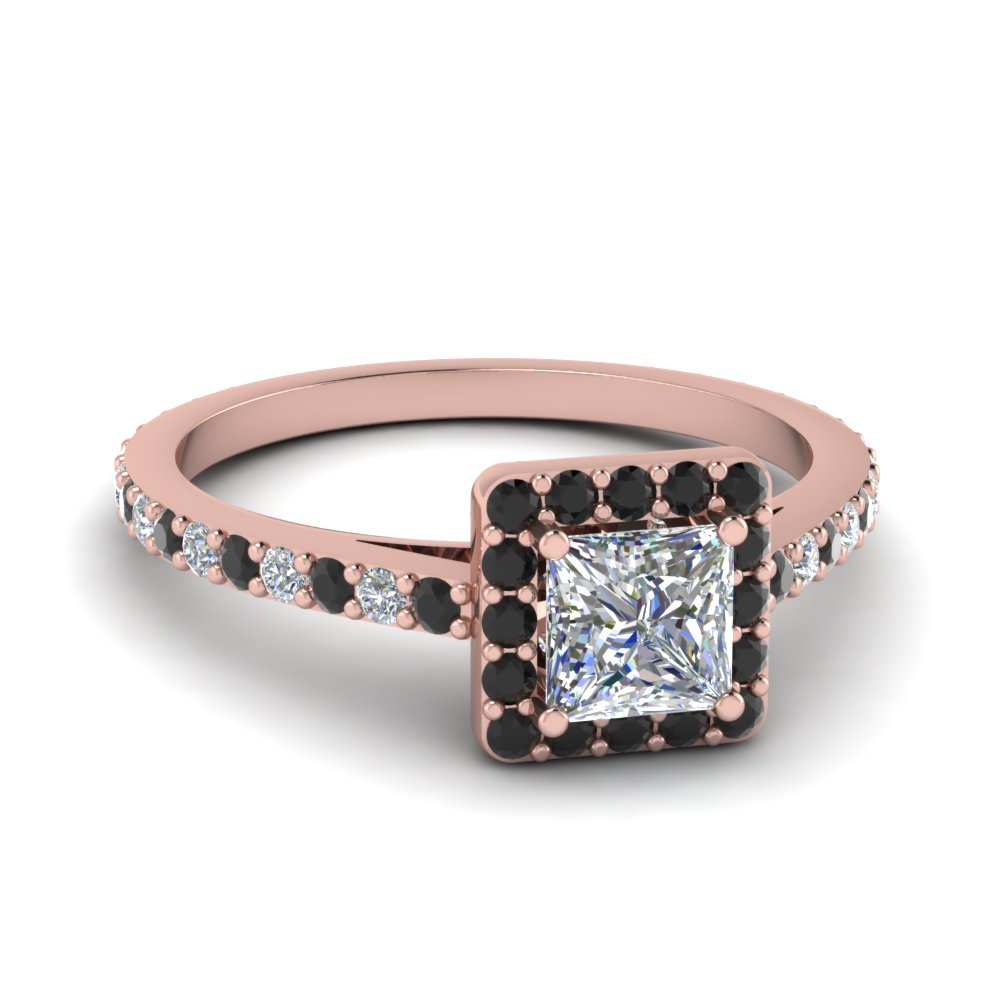Princess Cut Diamond Halo Engagement Rings With Black Diamond In 18k Rose  Gold