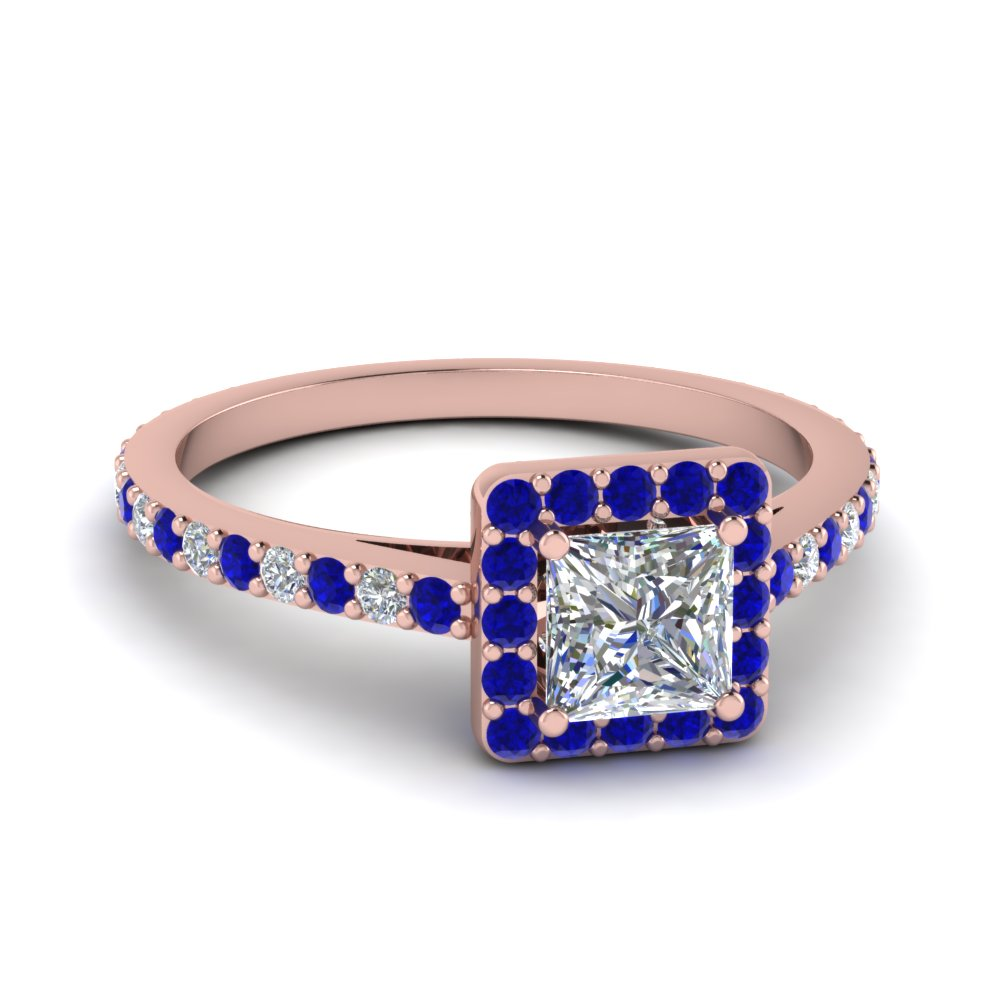 princess cut diamond floating square halo engagement ring with sapphire in FDENR7896PRRGSABL NL RG