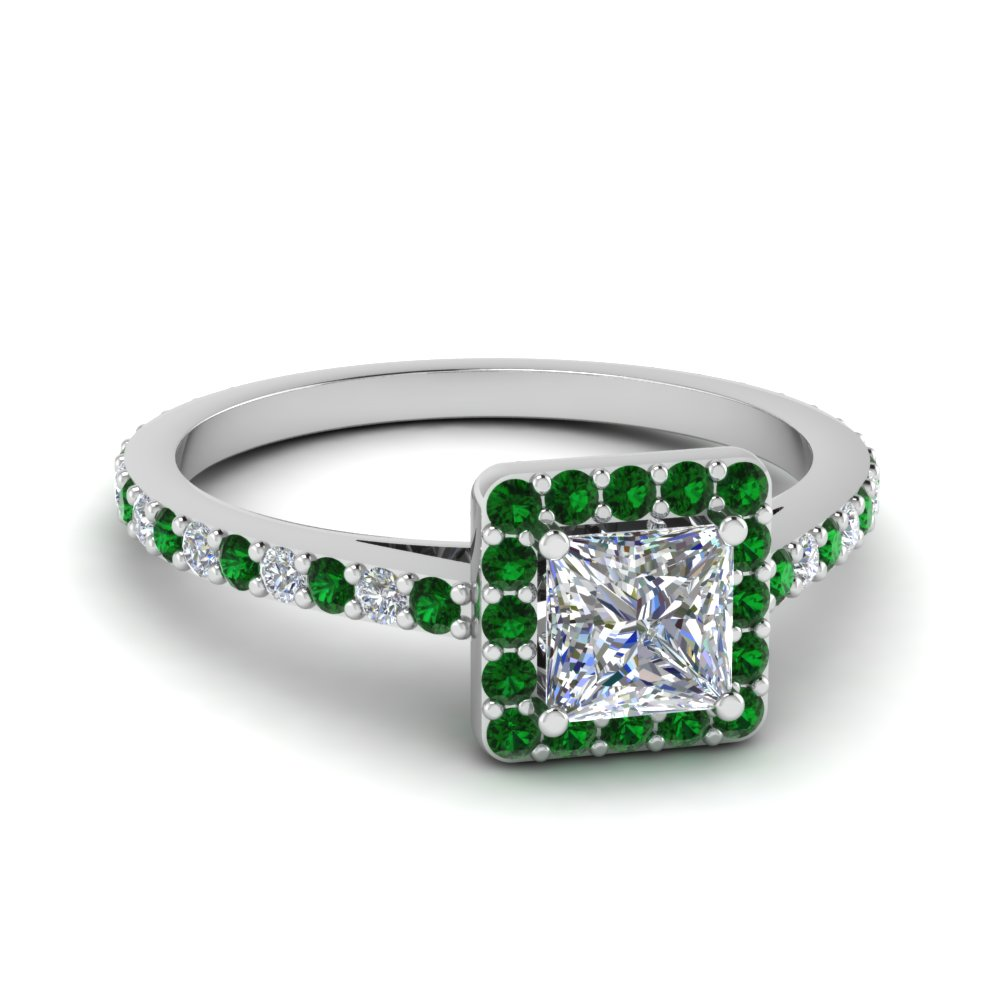 Halo Princess Cut Diamond Emerald Ring