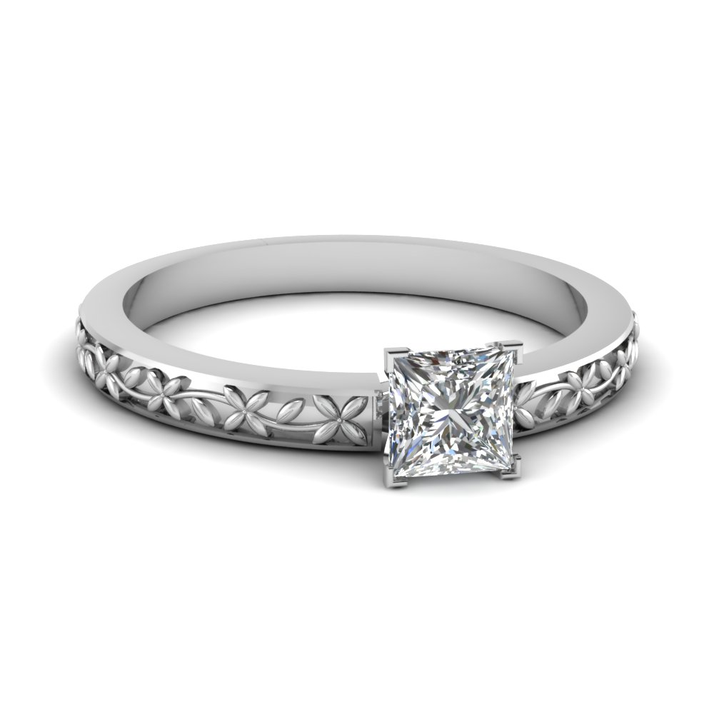 floral engraved princess cut diamond solitaire engagement ring in FDENS3552PRR NL WG