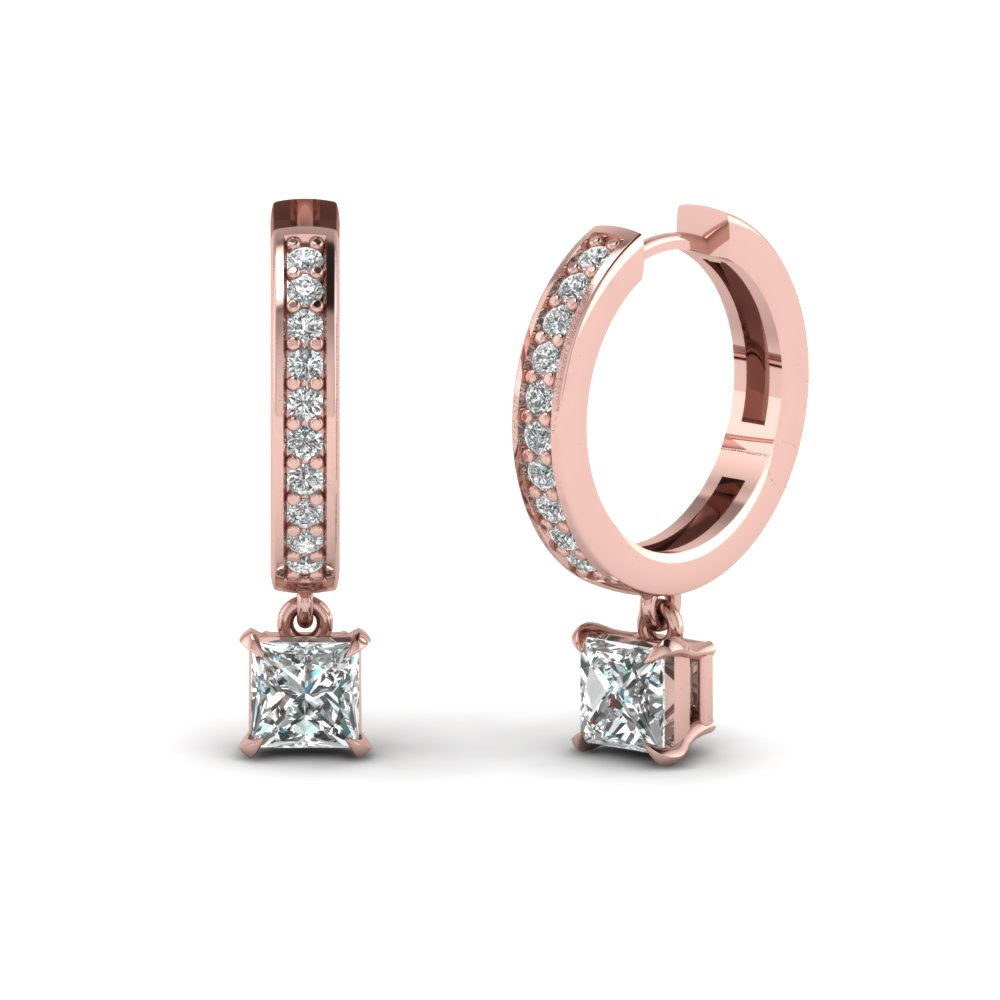 Princess Cut Drop Hoop Diamond Earring In Fdear1161pr Nl Rg