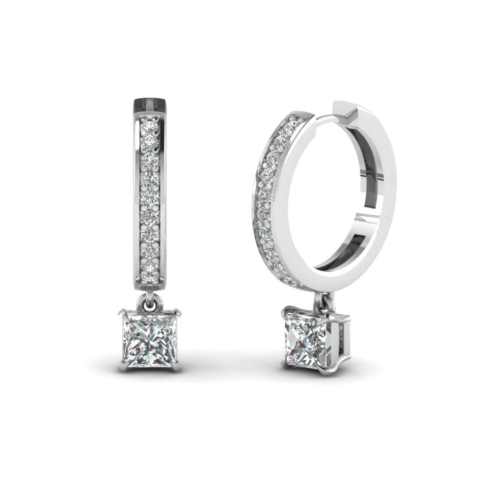 Princess Cut Drop Hoop Diamond Earring In Fdear1161pr Nl Wg