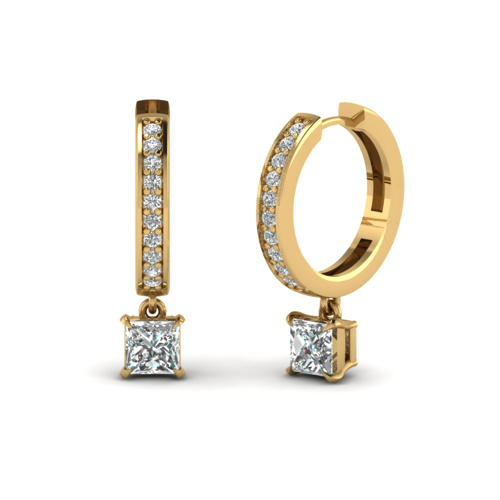 Princess Diamond Gold Hoop Earrings