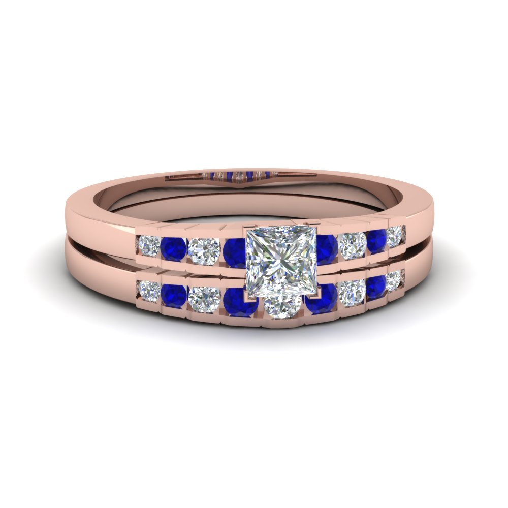 princess cut diamond graduated accent wedding set with sapphire in FDENS3116PRGSABL NL RG