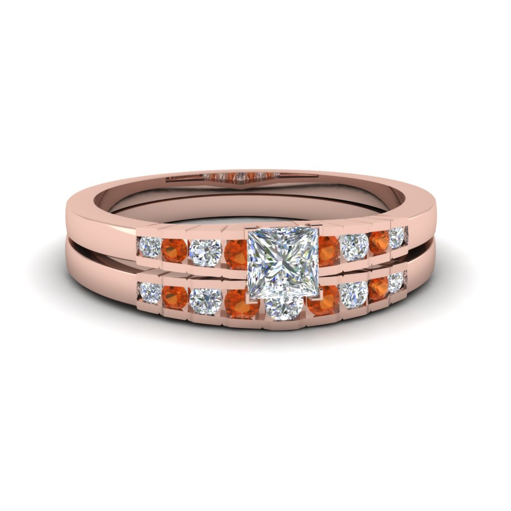 princess cut diamond graduated accent wedding set with orange sapphire in FDENS3116PRGSAOR NL RG