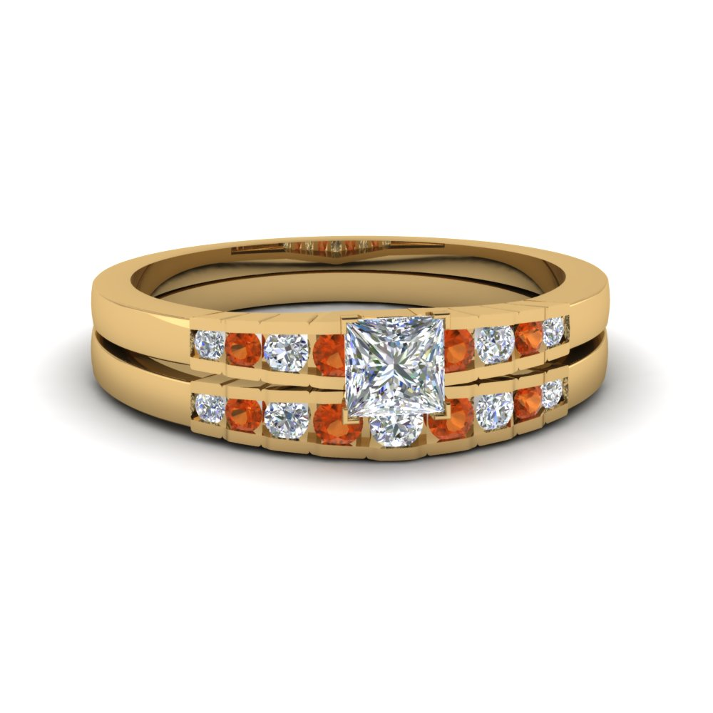 princess cut diamond graduated accent wedding set with orange sapphire in FDENS3116PRGSAOR NL YG