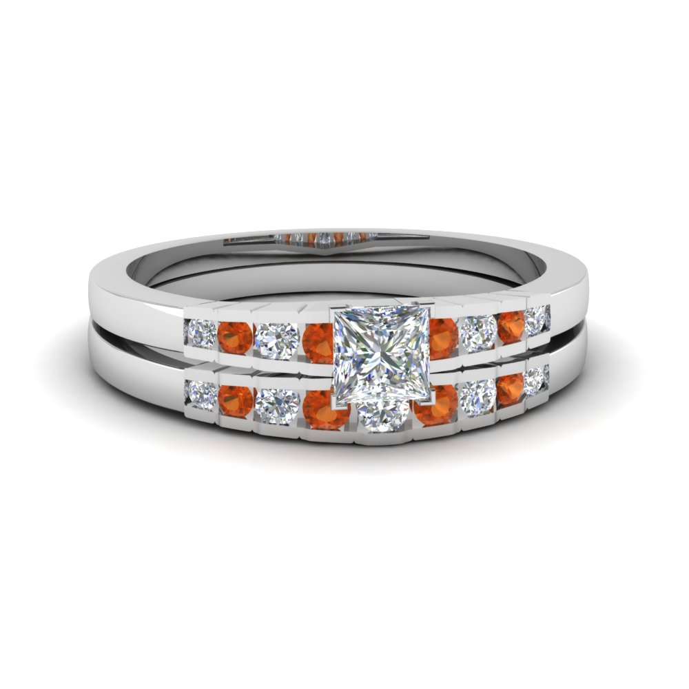 princess cut diamond graduated accent wedding set with orange sapphire in FDENS3116PRGSAOR NL WG