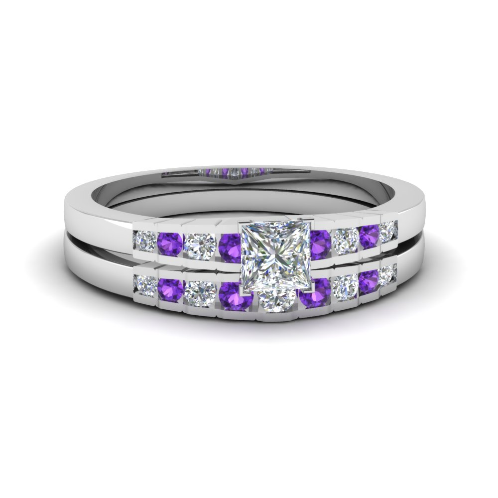 Princess Cut Purple Topaz Wedding Set