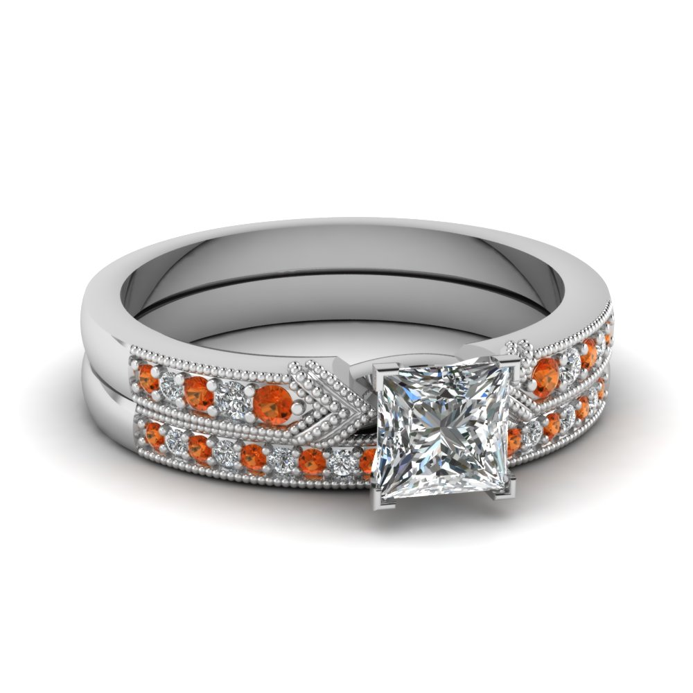 antique pave princess cut diamond wedding ring set with orange sapphire in FD68356PRGSAOR NL WG