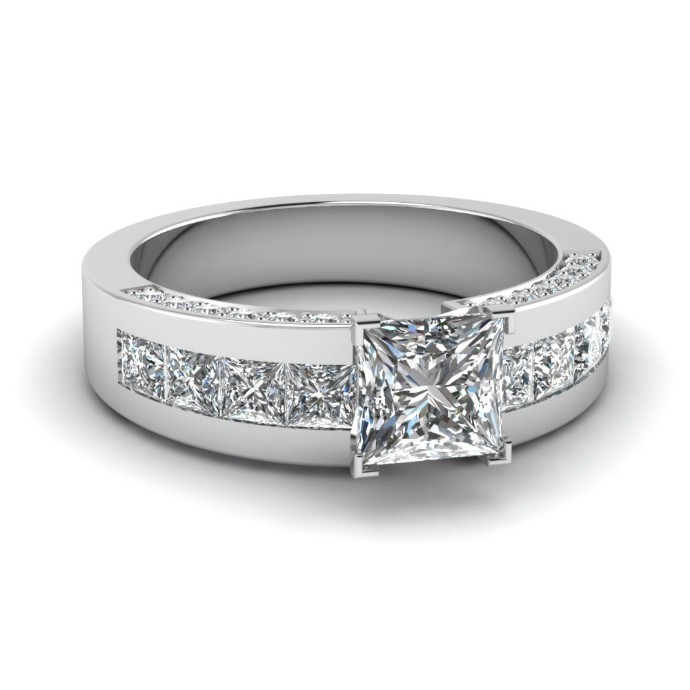 Princess Cut Engagement Ring With Diamond Shank In Platinum