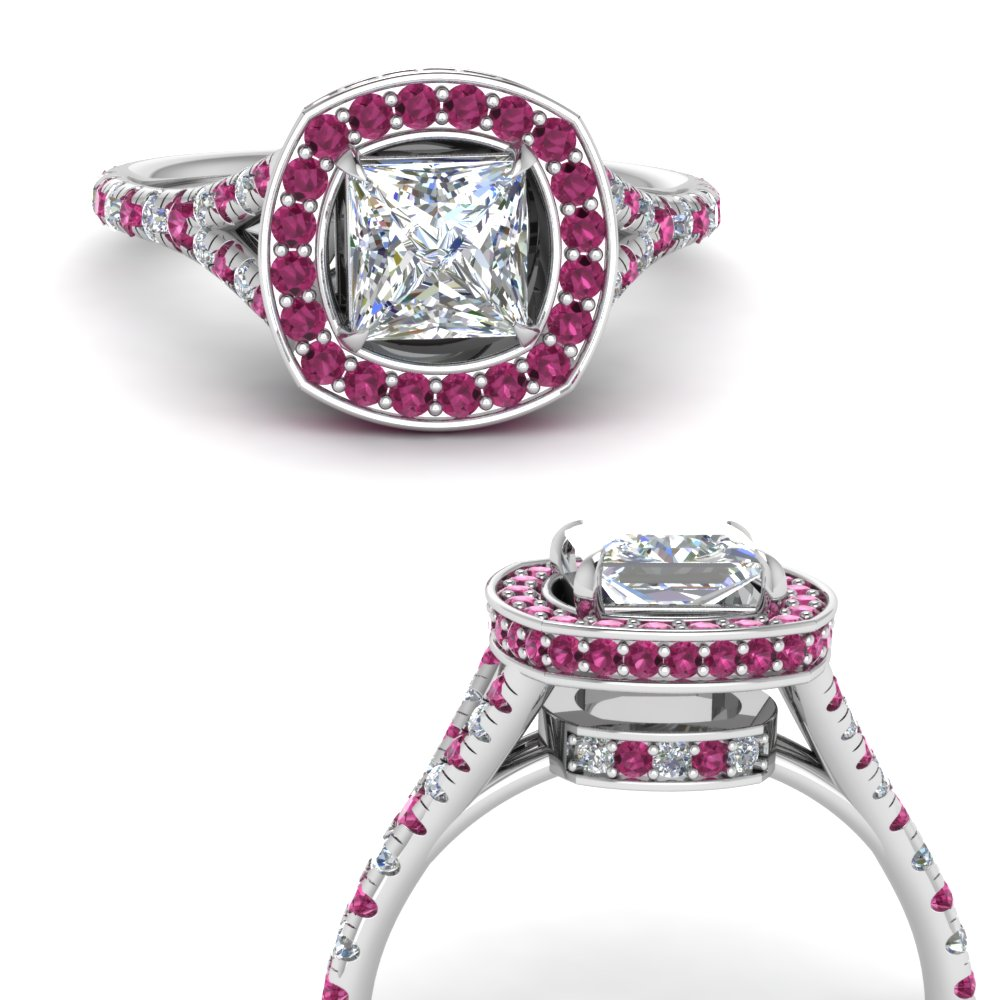 princess-cut-diamond-halo-Split-engagement-ring-with-pink-sapphire-in-FDENR8753PRRGSADRPIANGLE3-NL-WG