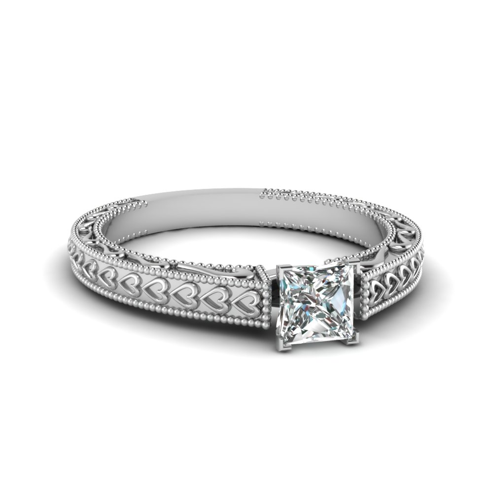 princess cut diamond heart chain solitaire ring in 14K white gold FDENS3612PRR NL WG