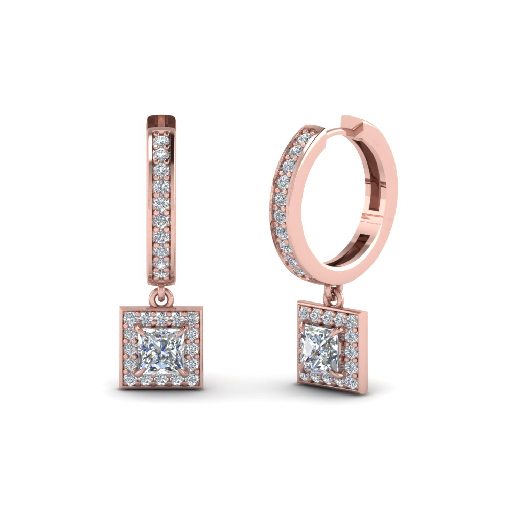 Princess Cut Halo Hoop Earrings