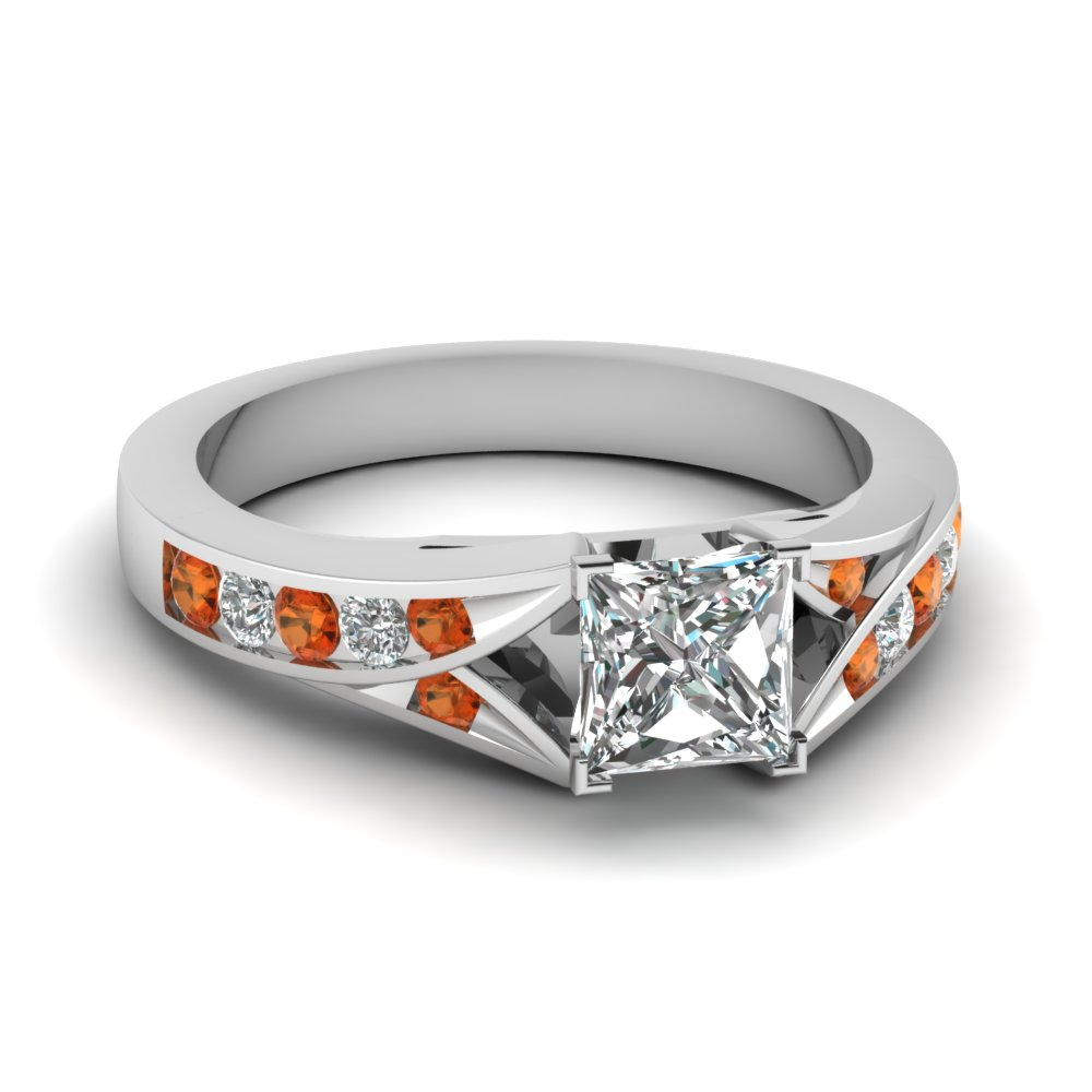 princess cut split shank channel diamond engagement ring with orange sapphire in FDENR1014PRRGSAOR NL WG