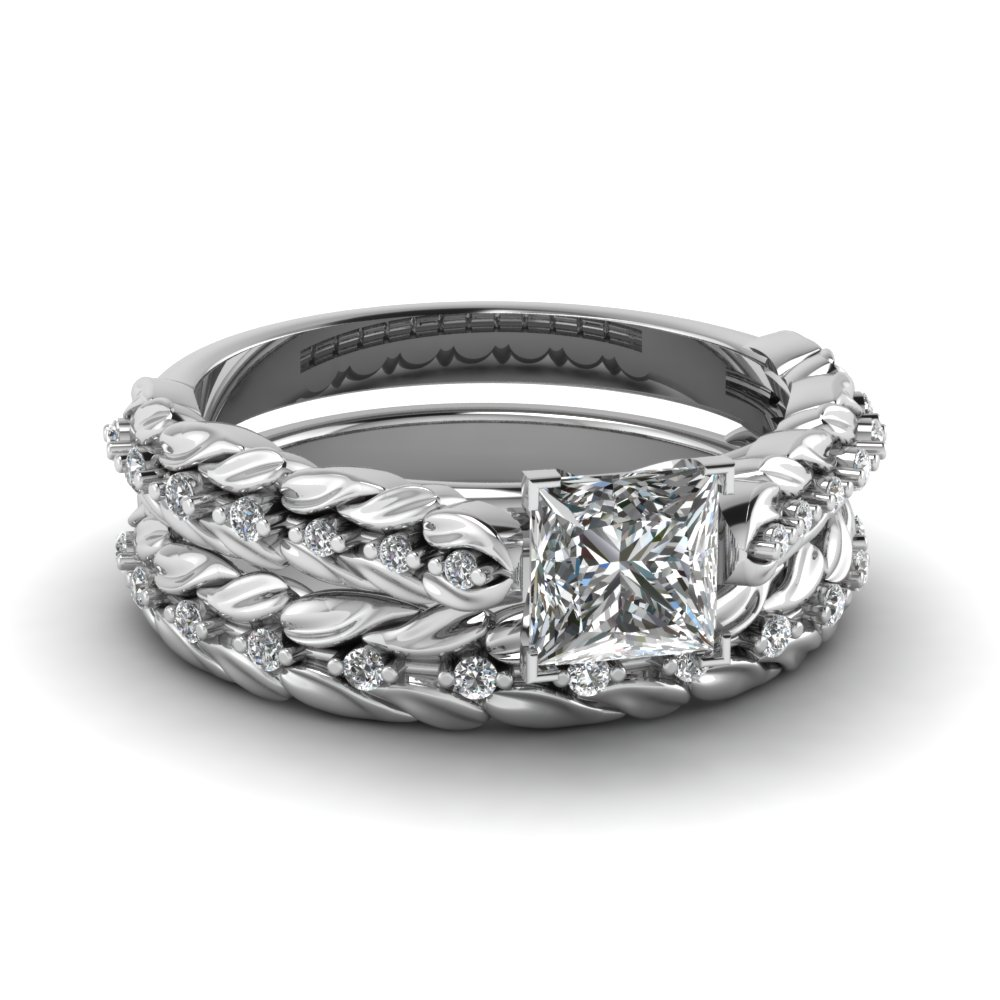 leaf design princess cut diamond wedding ring set in 14K white gold FD121970PR NL WG