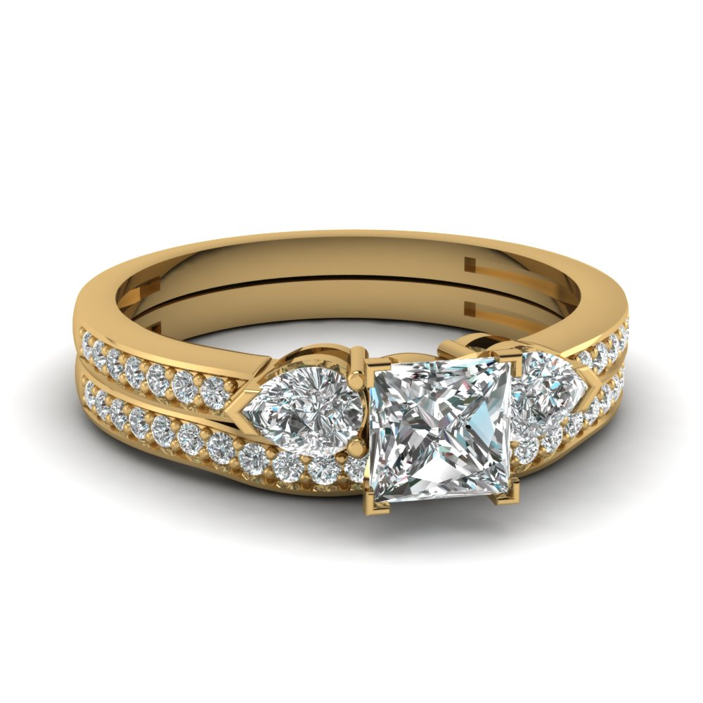 Princess Cut Pave Gold Wedding Set