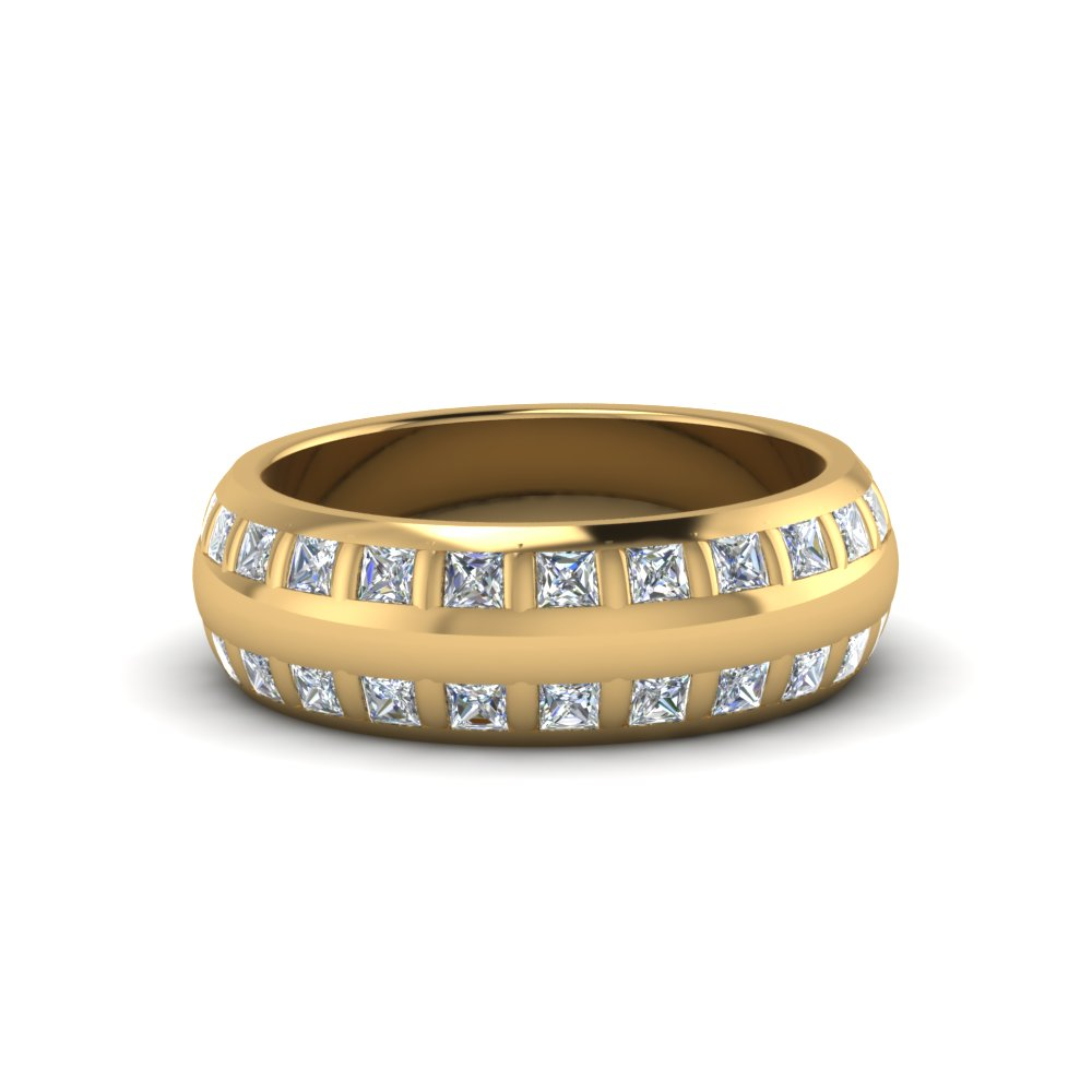Princess Cut Diamond Mens Band