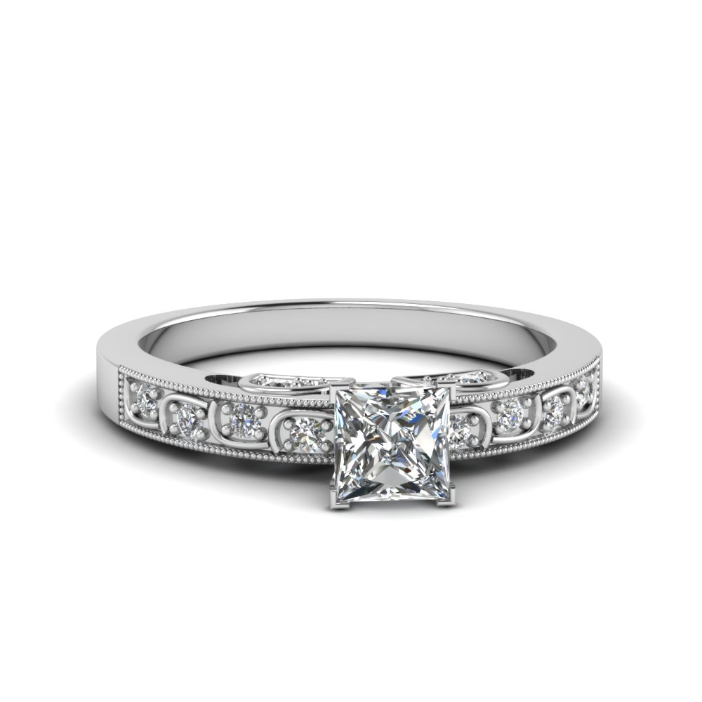 princess cut diamond milgrain engagement ring in FD62292PRR NL WG