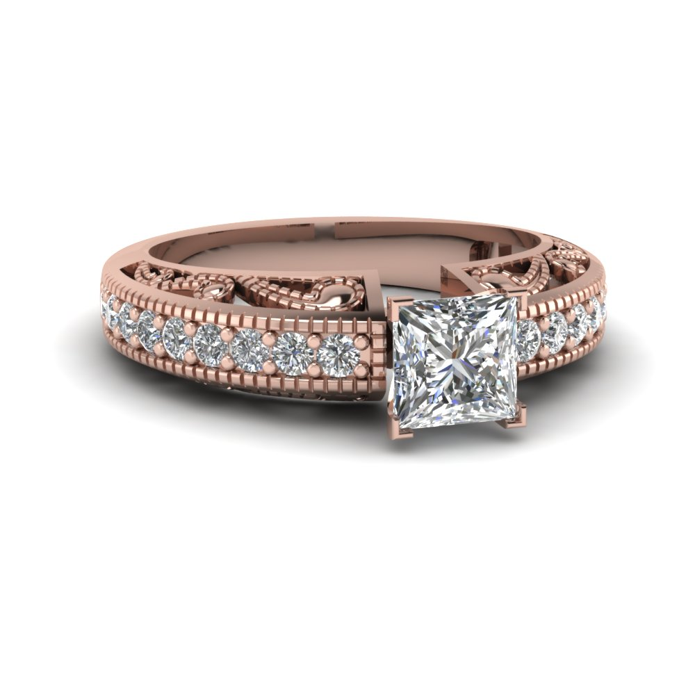 Rose Gold Princess Cut Milgrain Rings