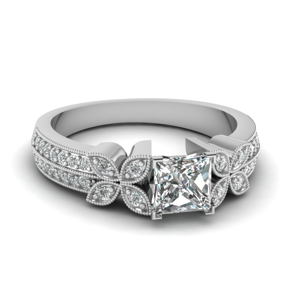 milgrain petal princess cut diamond engagement ring in FDENS3308PRR NL WG