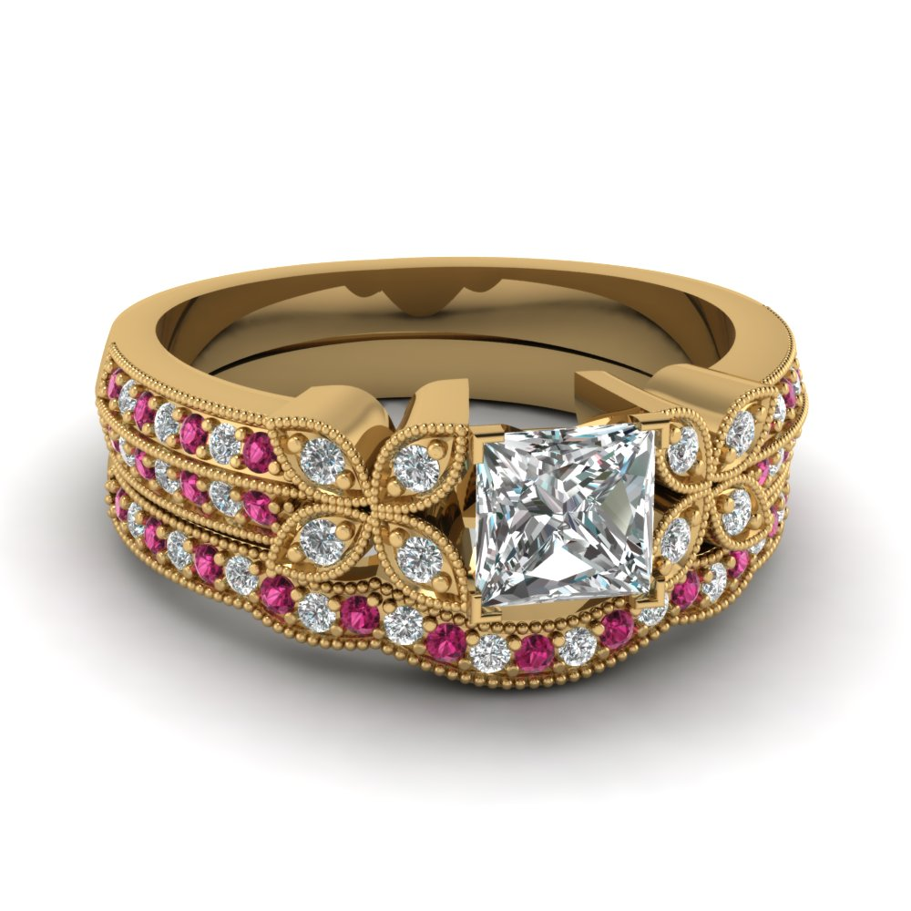 milgrain petal princess cut diamond wedding ring set with pink sapphire in FDENS3308PRGSADRPI NL YG