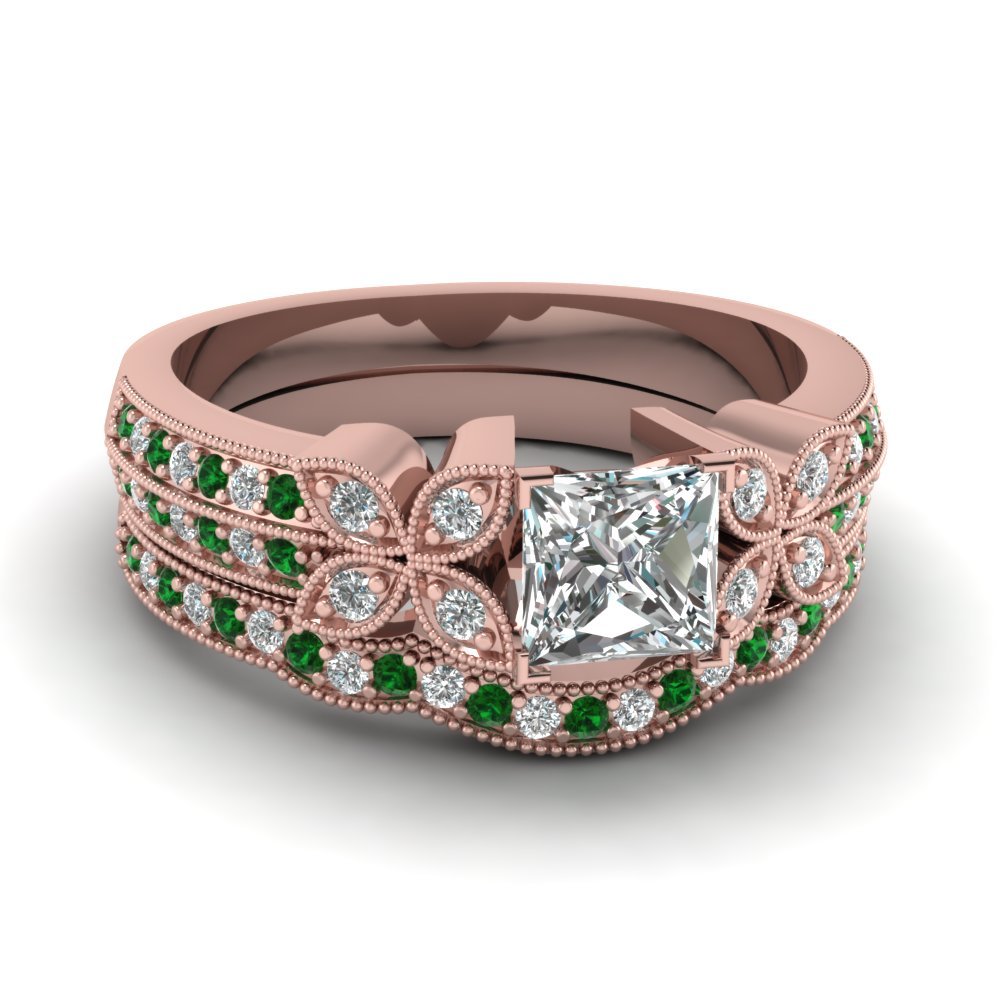 princess-cut-diamond-milgrain-petal-wedding-set-with-green-emerald-in-14K-rose-gold-FDENS3308PRGEMGR-NL-RG
