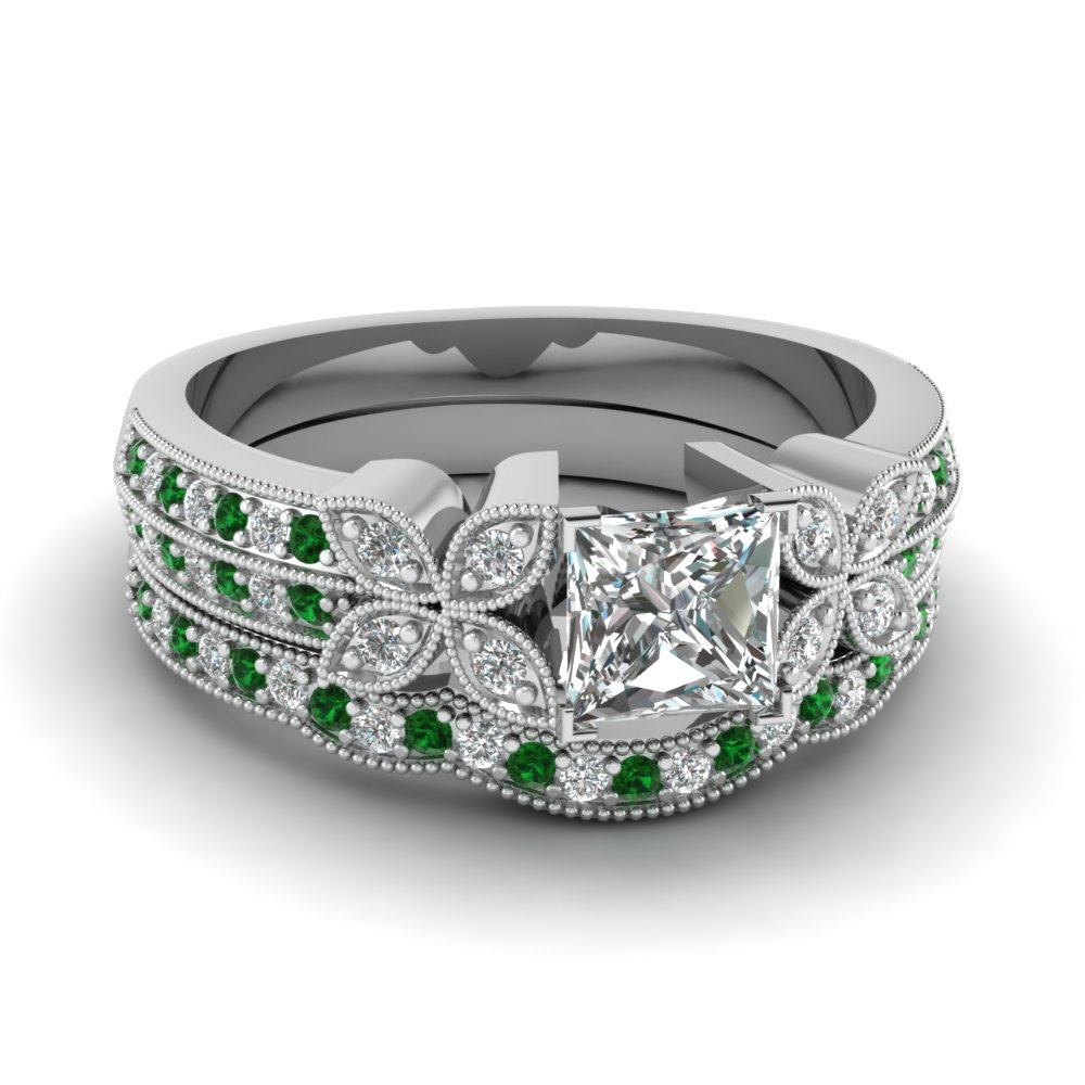 princess-cut-diamond-milgrain-petal-wedding-set-with-green-emerald-in-14K-white-gold-FDENS3308PRGEMGR-NL-WG