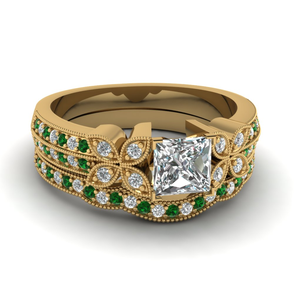 milgrain petal princess cut diamond wedding ring set with emerald in FDENS3308PRGEMGR NL YG