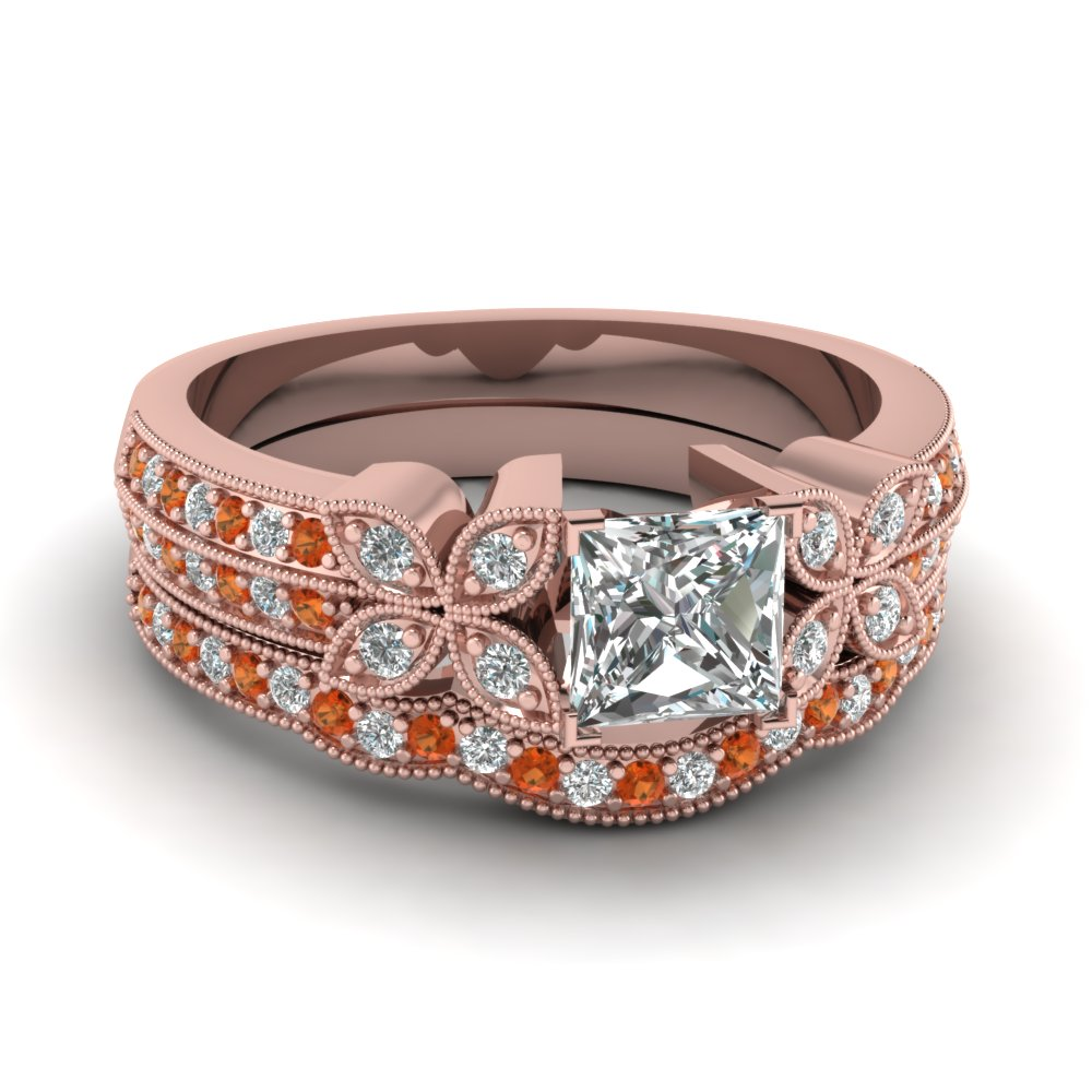 princess-cut-diamond-milgrain-petal-wedding-set-with-orange-sapphire-in-14K-rose-gold-FDENS3308PRGSAOR-NL-RG