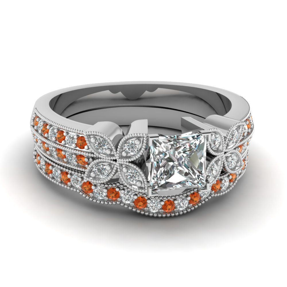 milgrain petal princess cut diamond wedding ring set with orange sapphire in FDENS3308PRGSAOR NL WG