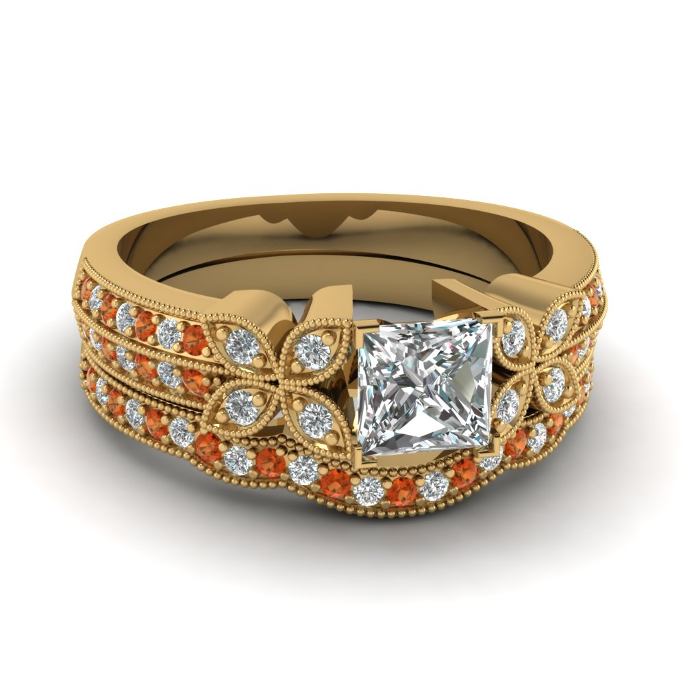princess-cut-diamond-milgrain-petal-wedding-set-with-orange-sapphire-in-14K-yellow-gold-FDENS3308PRGSAOR-NL-YG