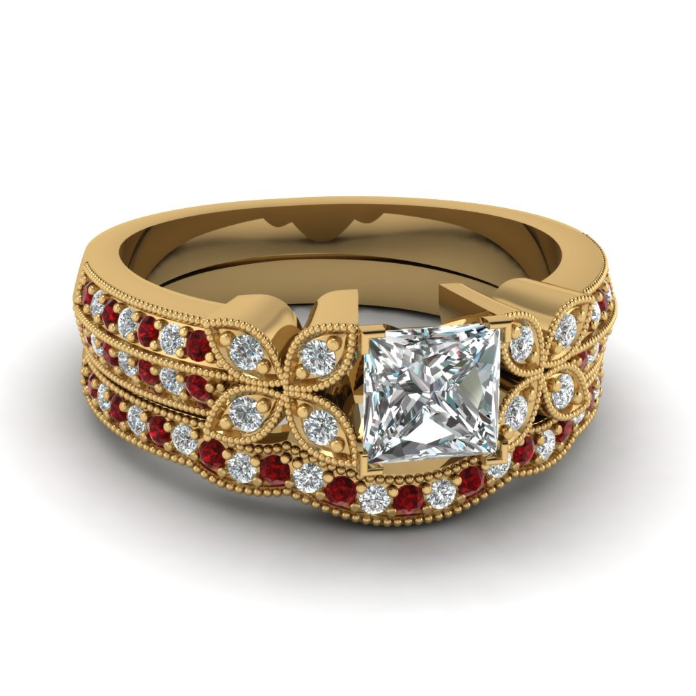 milgrain petal princess cut diamond wedding ring set with ruby in FDENS3308PRGRUDR NL YG