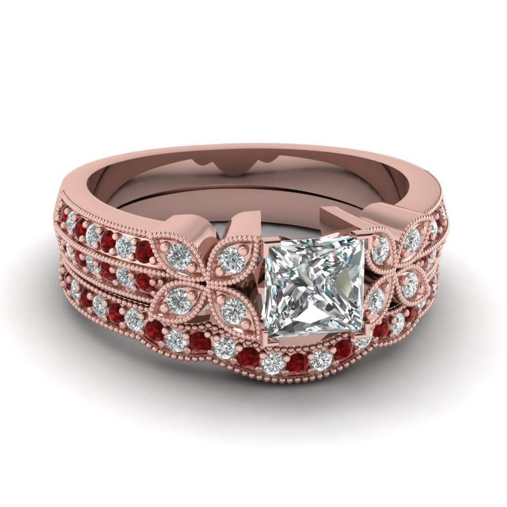 princess-cut-diamond-milgrain-petal-wedding-set-with-red-ruby-in-18K-rose-gold-FDENS3308PRGRUDR-NL-RG
