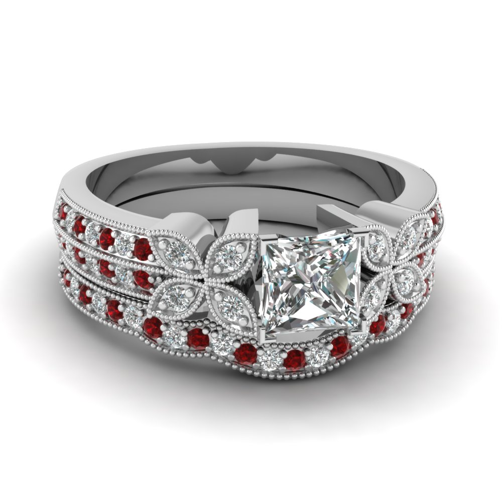 milgrain petal princess cut diamond wedding ring set with ruby in FDENS3308PRGRUDR NL WG